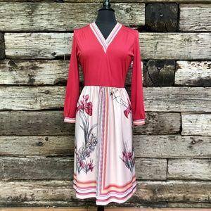 Stunning Vintage Crimson & Floral Midi Dress